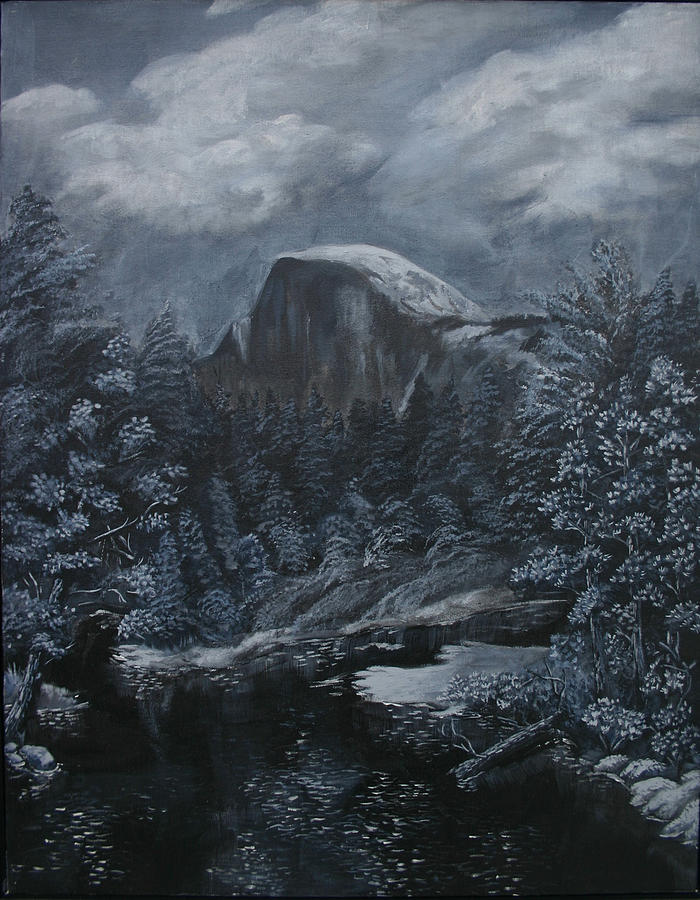 Yosemite Painting - Half Dome Black And White  by Travis Day