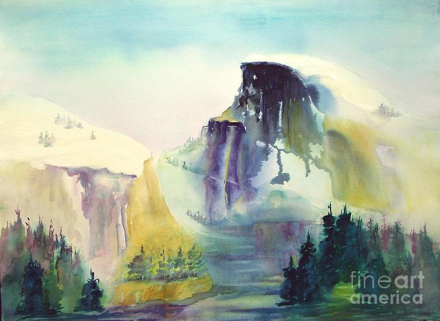Mountains Painting - Half Dome Yosemite by Maryann Schigur