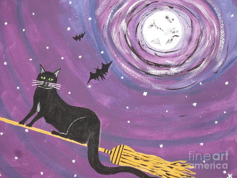 Halloween Painting - Halloween Flying  Black Cat by Jeffrey Koss