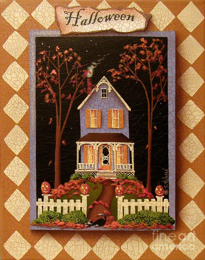 Art Painting - Halloween Hill by Catherine Holman