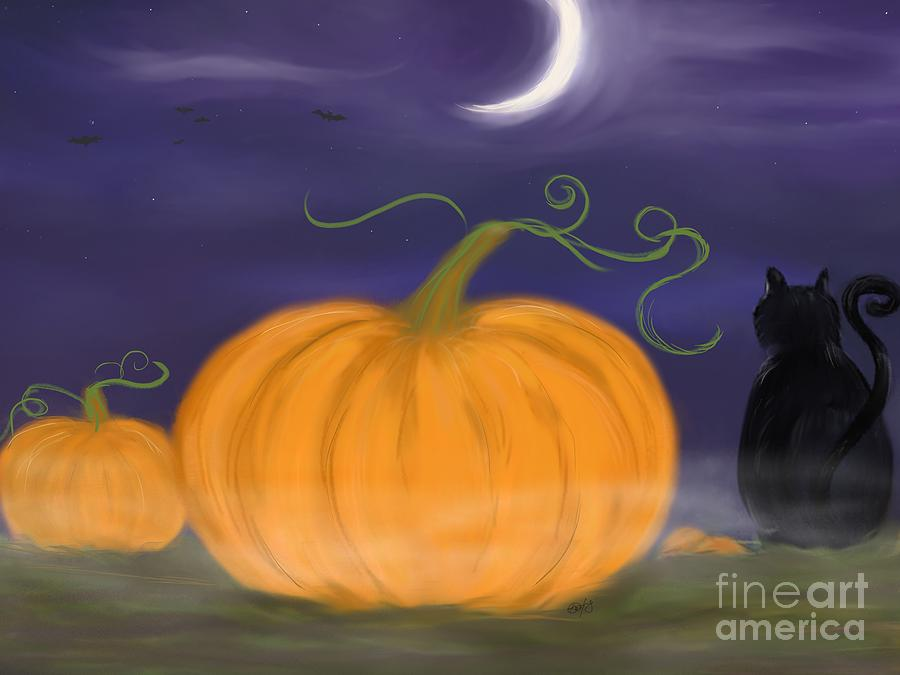 Samhain Painting - Halloween Night by Roxy Riou