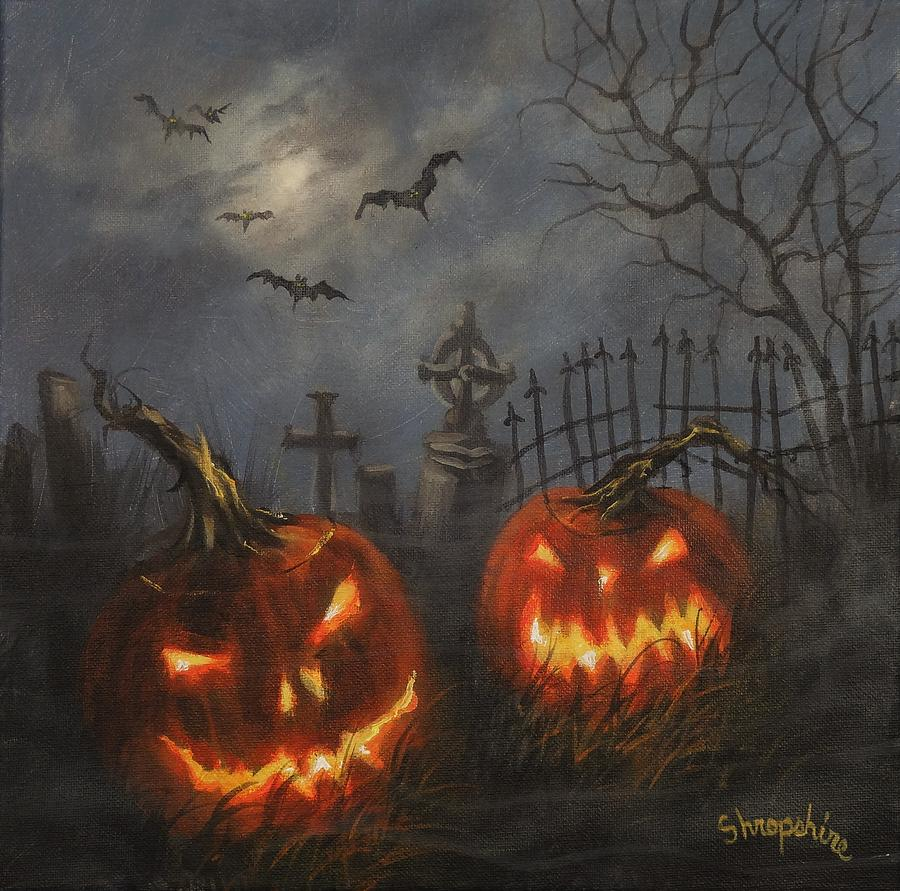 Halloween On Cemetery Hill Painting By Tom Shropshire