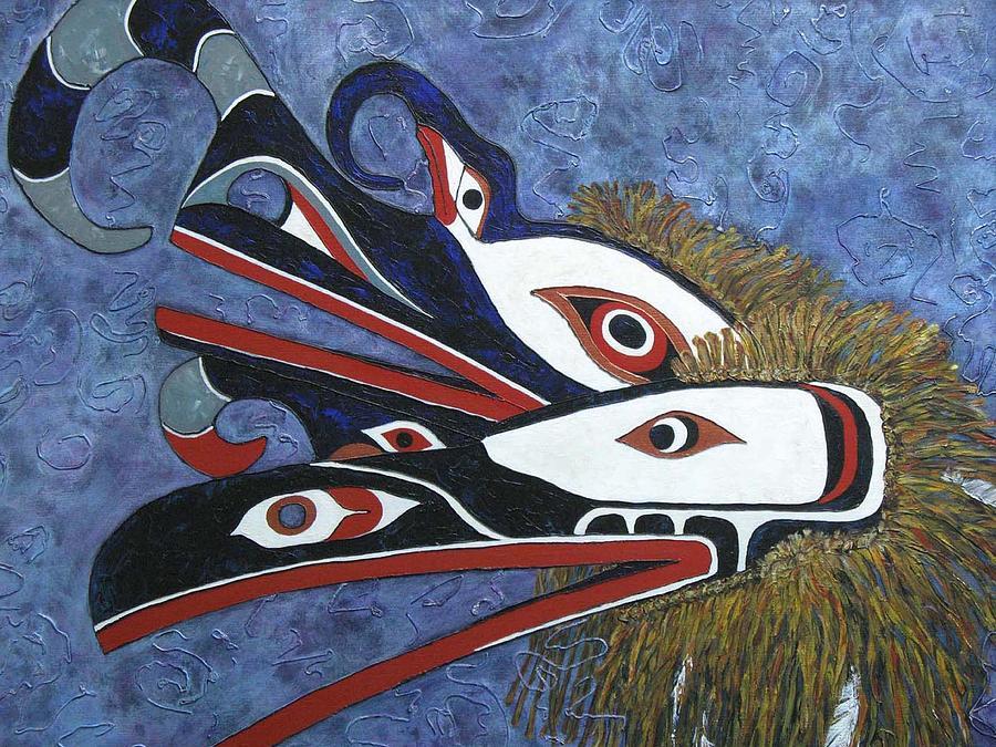 North West Native Painting - Hamatsa Masks by Elaine Booth-Kallweit