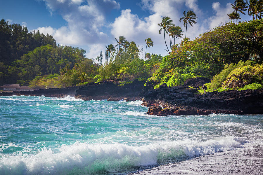 America Photograph - Hana Bay Waves by Inge Johnsson