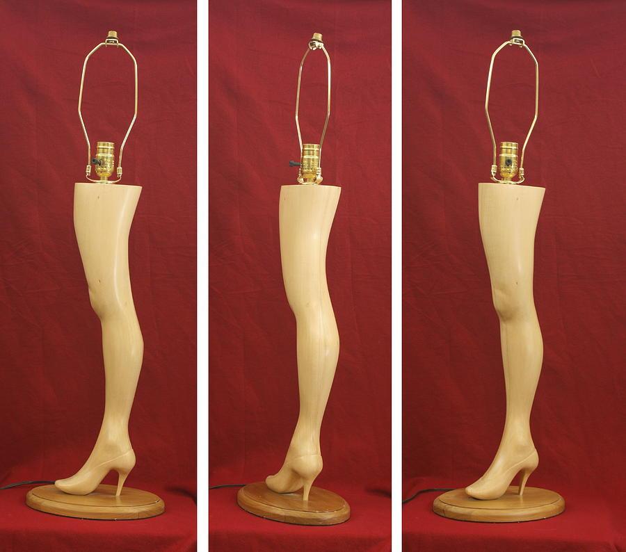 Hand Carved Wood Leg Lamp Sculpture