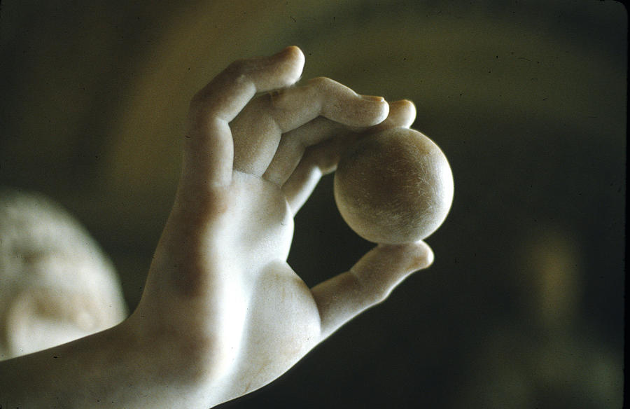 White Sculpture - Hand Holding Ball by Carl Purcell