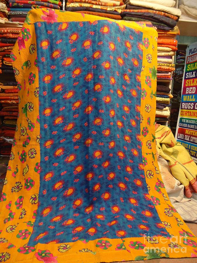 Flower Print Cotton Throw. Hand Quilted Kantha Rallis Tapestry - Textile - Hand Quilted Bedcovers by Santosh Rathi