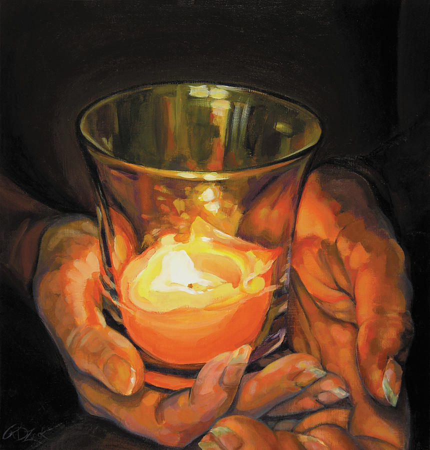 Hands by candlelight painting by rebecca zook for Candle painting medium
