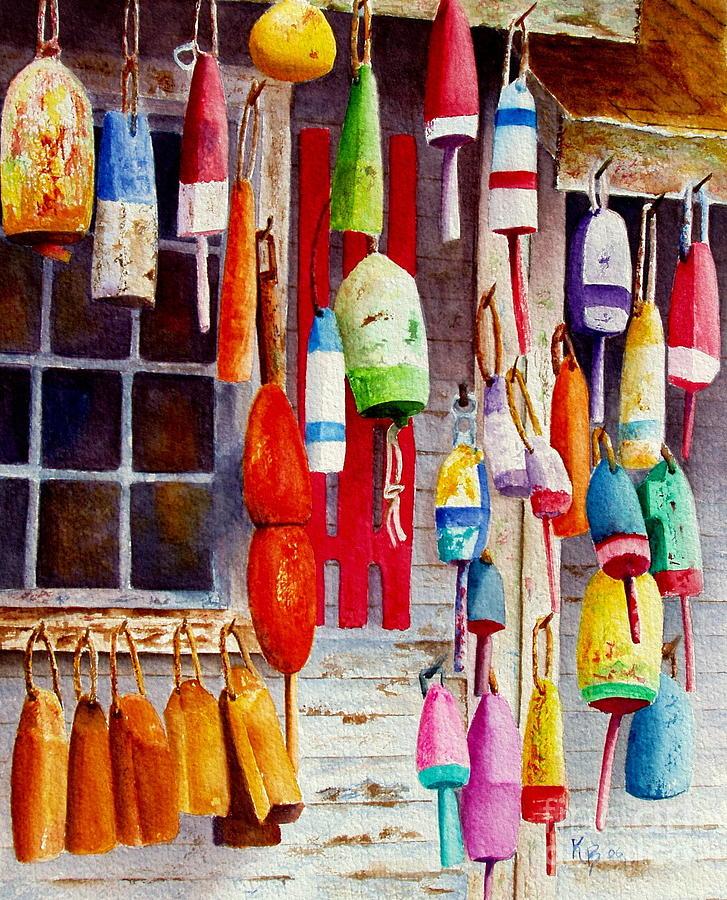 Lobster Painting - Hanging Around by Karen Fleschler
