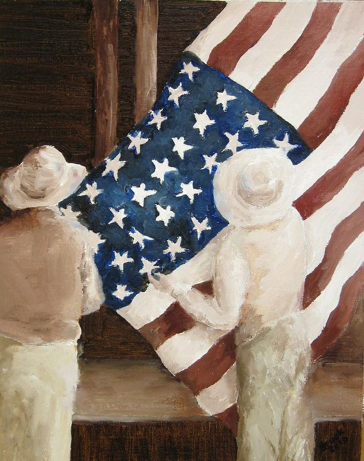 Flag Painting - Hanging The Flag - 1 by Frieda Bruck