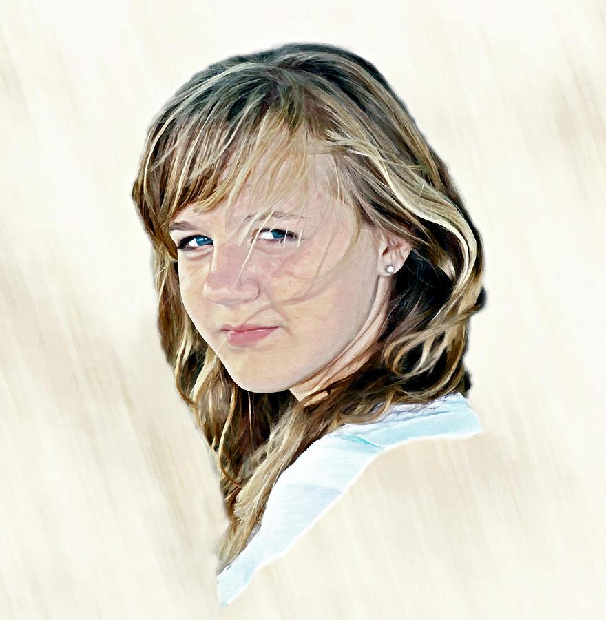 Girl Portrait Digital Art - Hannah Portrait by Randy Steele