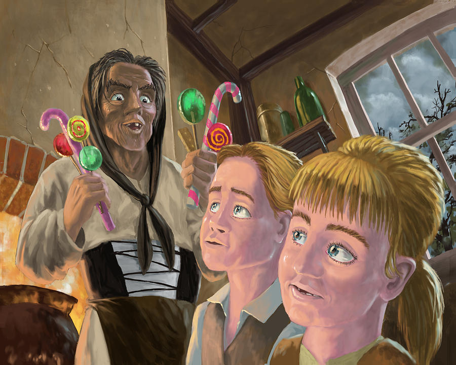 Hanzel And Gretel In Witches Kitchen Painting