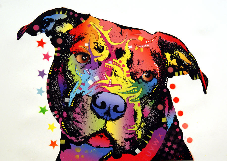 Dog Painting - Happiness Pitbull Warrior by Dean Russo