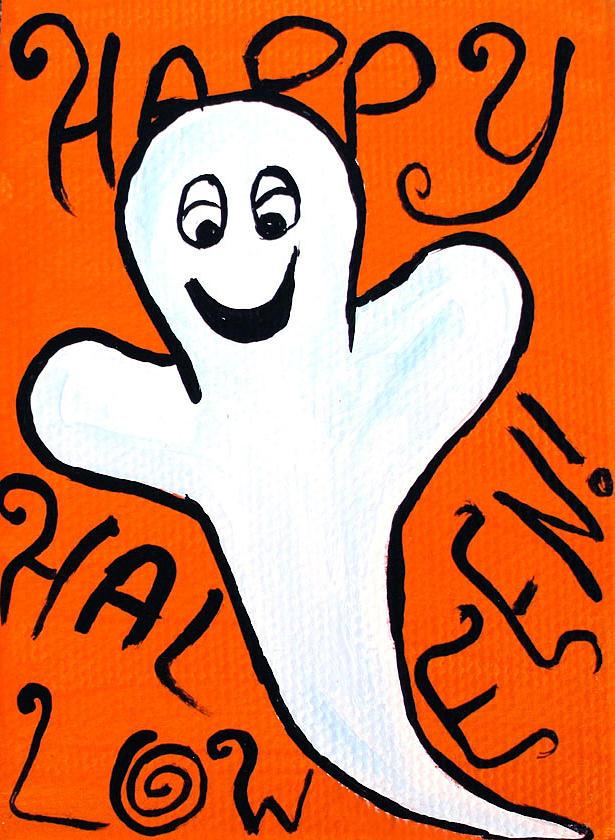 Happy Halloween Ghost Painting