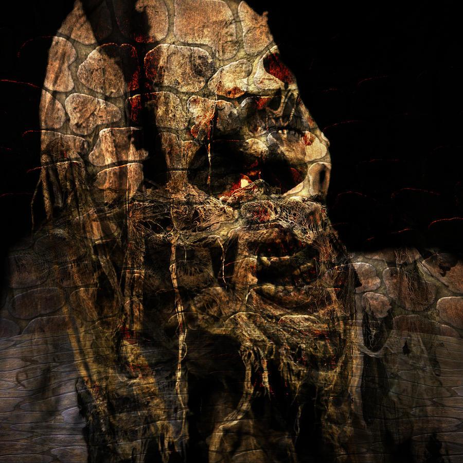 Happy Halloween Scary Creepy Skull Ghost Digital Art Digital Art - Happy Halloween Iv by Annette Labedzki