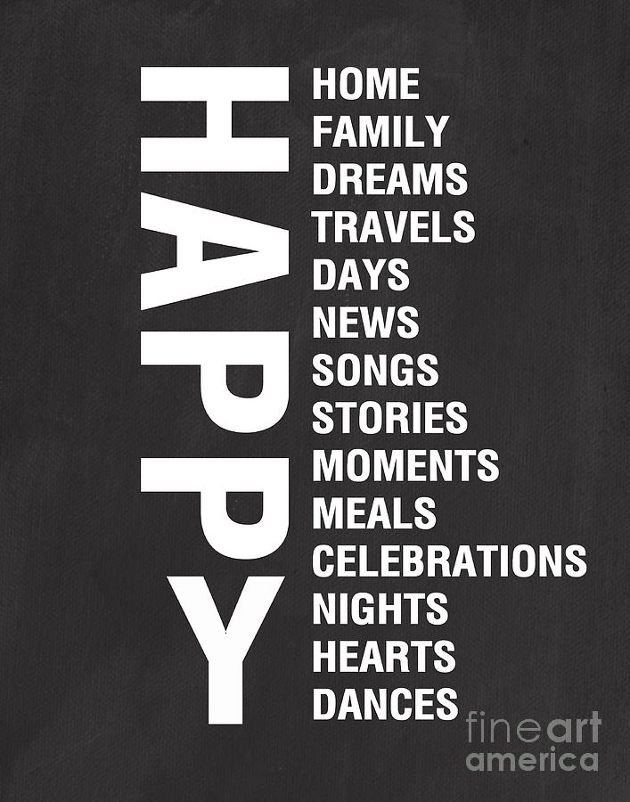 Typography Mixed Media - Happy Things by Linda Woods