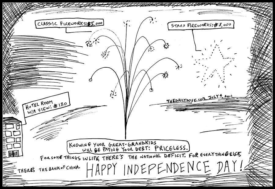 U.s. Drawing - Happy U.s. In Dependence Day by Yasha Harari