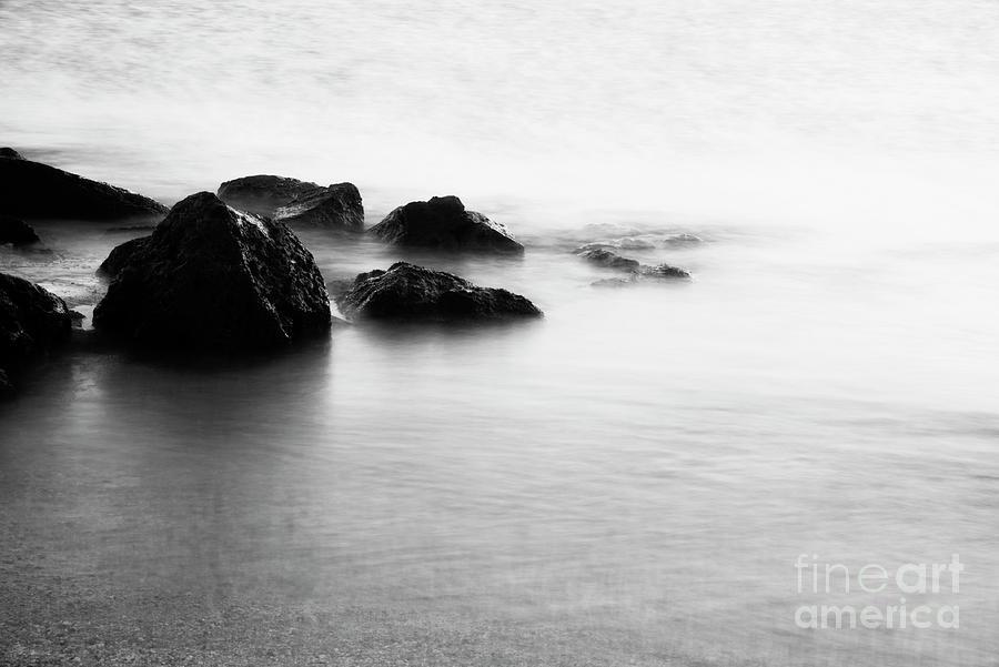 Bay Photograph - Harbor Rocks And Misty Ocean I by Charmian Vistaunet