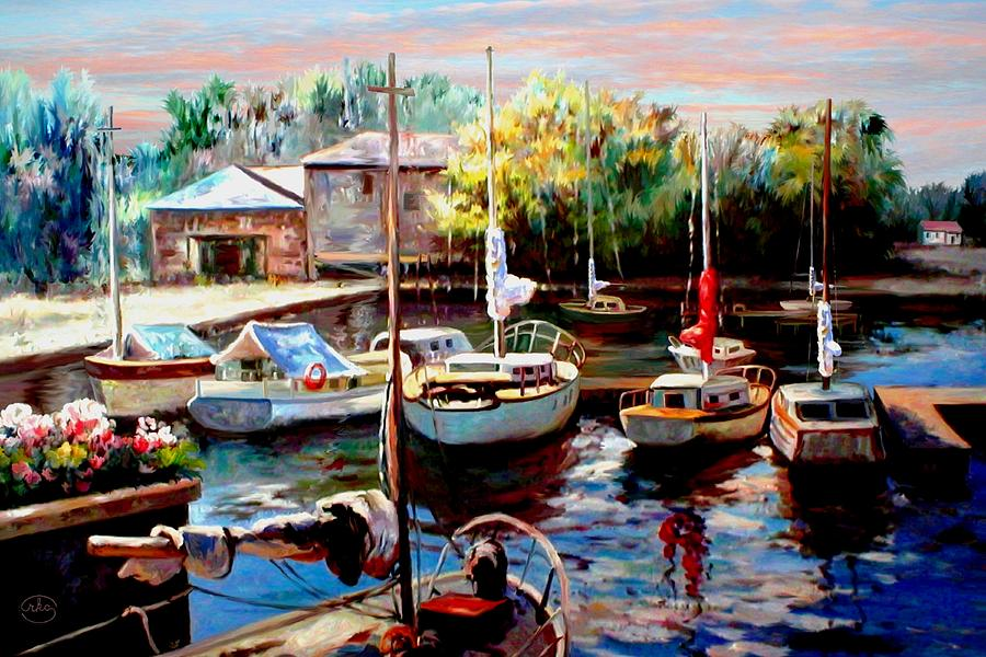 Harbor Sailboats At Rest Painting