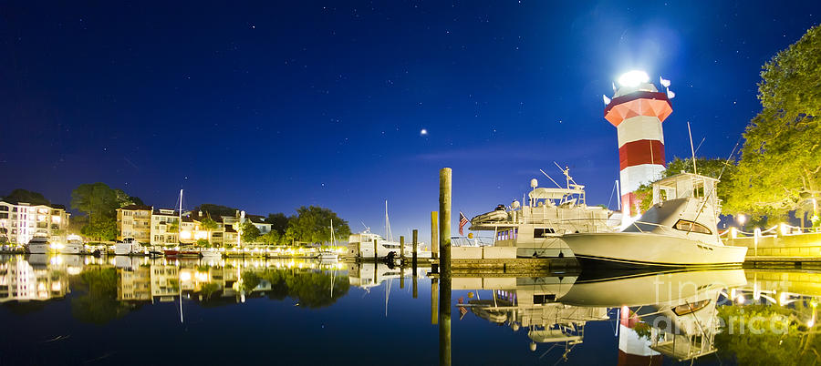 Harbor Town Yacht Basin Hilton Head South Carolina Photograph - Harbor Town Yacht Basin Light House Hilton Head South Carolina by Dustin K Ryan