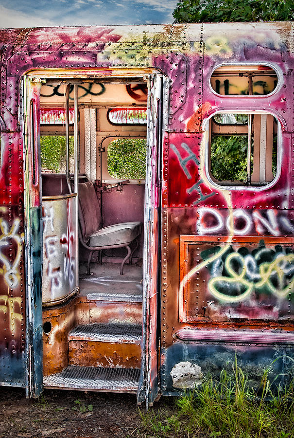 Graffiti Photograph - Haunted Graffiti Art Bus by Susan Candelario