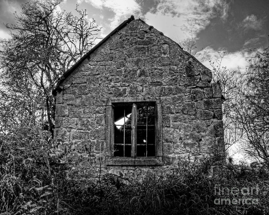 Haunted House In Black And White Photograph