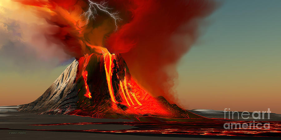 Volcanic Painting - Hawaii Volcano by Corey Ford