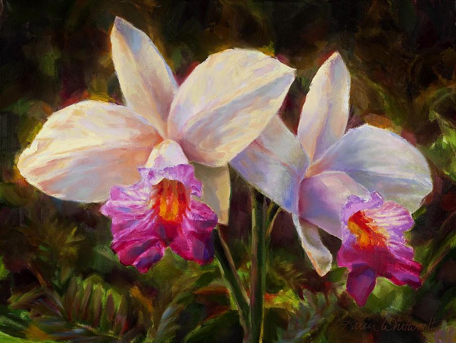 Art Painting - Hawaiian Bamboo Orchid by Karen Whitworth