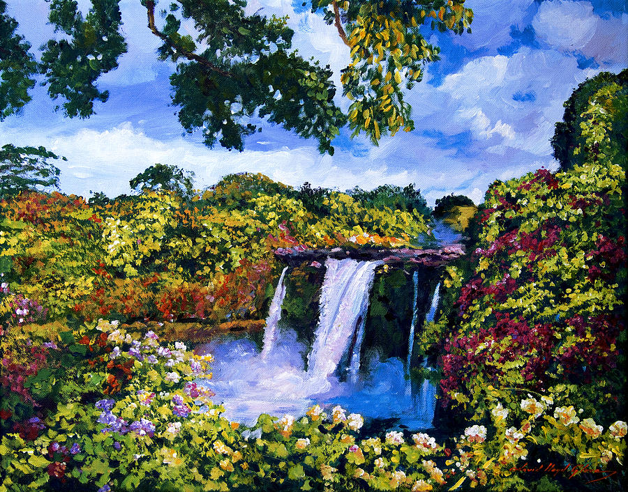 Hawaii Painting - Hawaiian Paradise Falls by David Lloyd Glover