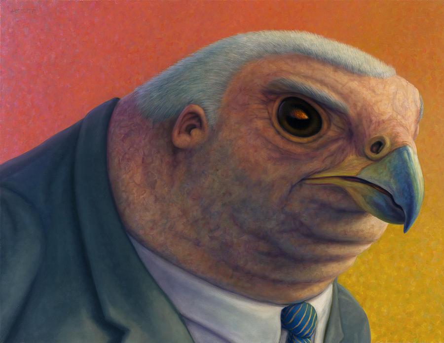 Hawk Painting - Hawkish by James W Johnson