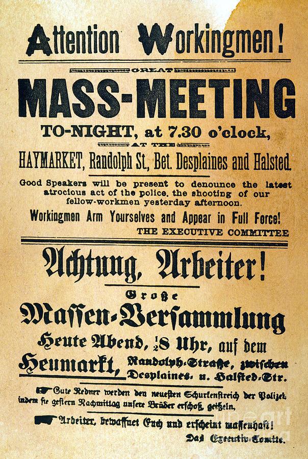 1886 Photograph - Haymarket Handbill, 1886 by Granger