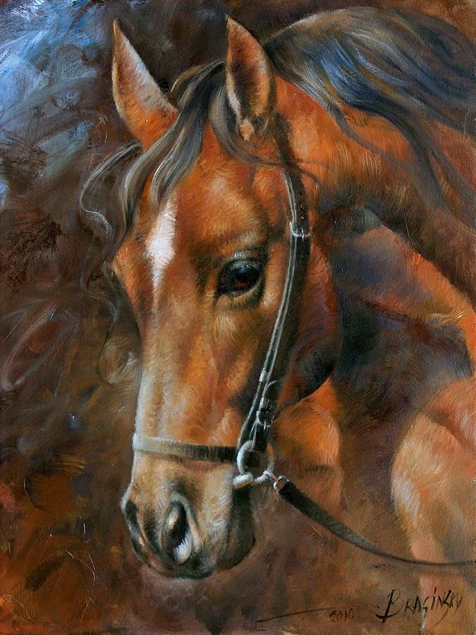 Head Horse Painting By Arthur Braginsky