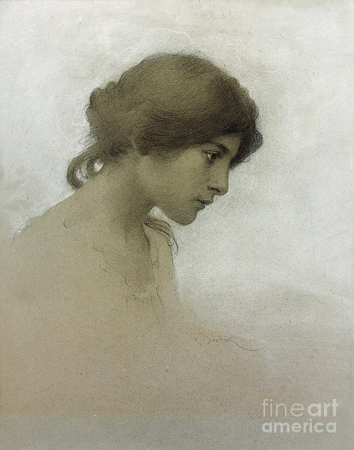 Head Of A Girl (pencil & Chalk On Paper) Female; Portrait; Young Girl; Profile; Drawing; Ethereal Beauty; Sketch Drawing - Head Of A Girl  by Franz Dvorak
