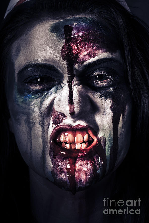 Horror Photograph - Head Shot On A Pure Evil Zombie Girl by Jorgo Photography - Wall Art Gallery