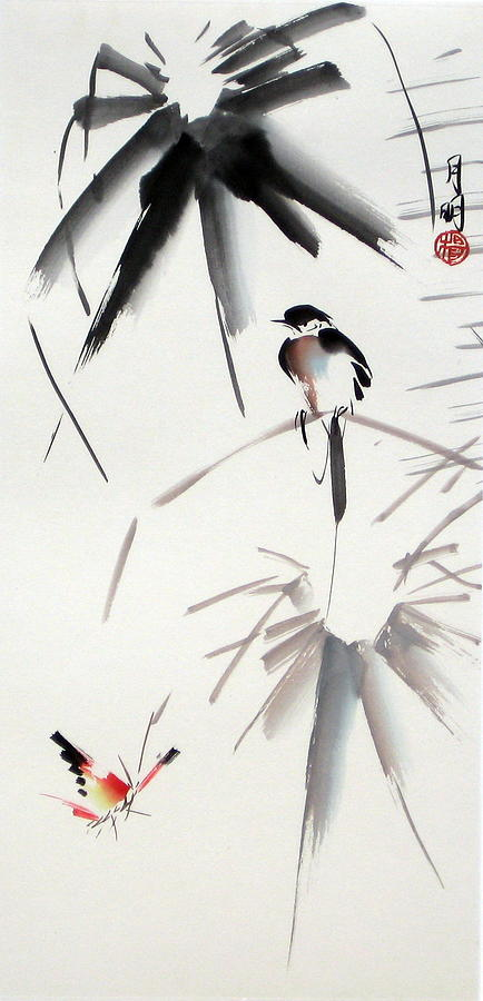 Bird Painting - Hearing Rain  by Ming Yeung