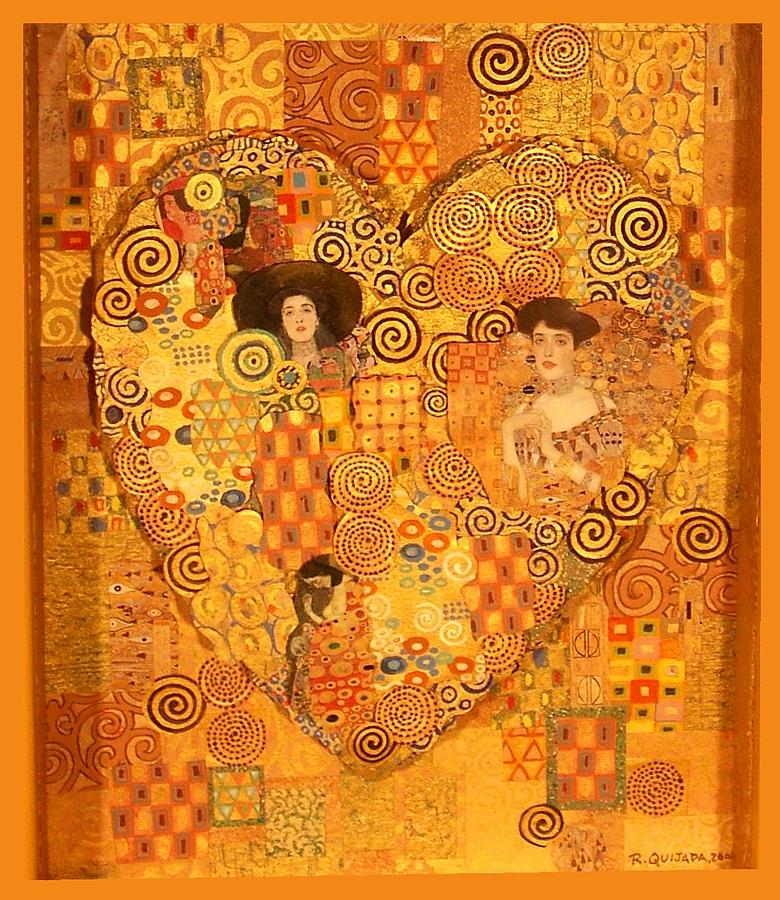 Heart of gustav klimt painting by robert quijada for Gustav klimt original paintings for sale