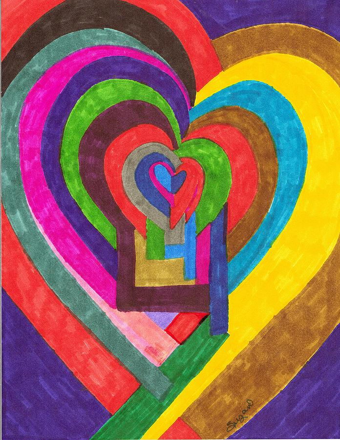 Abstract Painting - Heart Under Rennovation by Brenda Adams