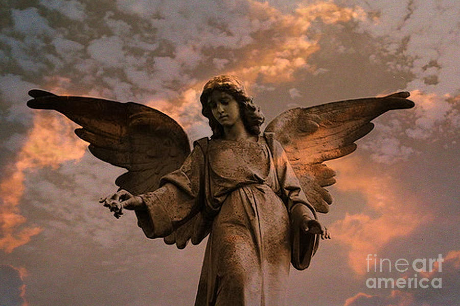 Heavenly Spiritual Angel Wings Sunset Sky Photograph