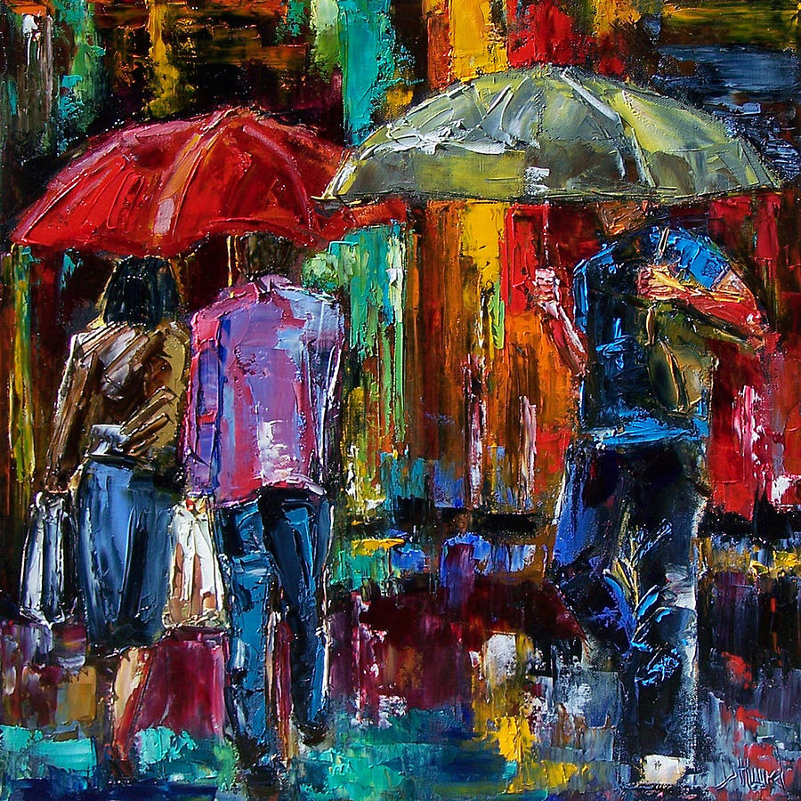 Street Scene Painting - Heavy Rain by Debra Hurd