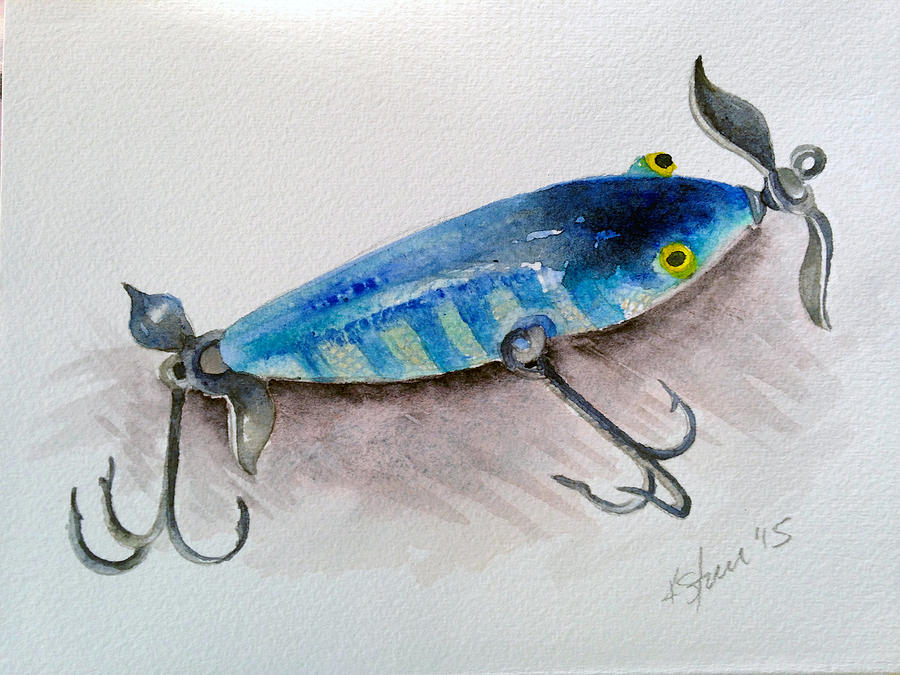 Heddon minnow lure painting by kathy sturr for Fishing lure paint