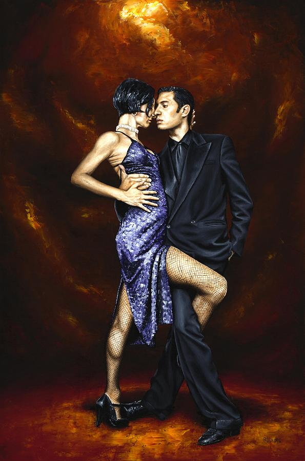 Tango Dancers Love Passion Female Male Woman Man Dance Painting - Held In Tango by Richard Young