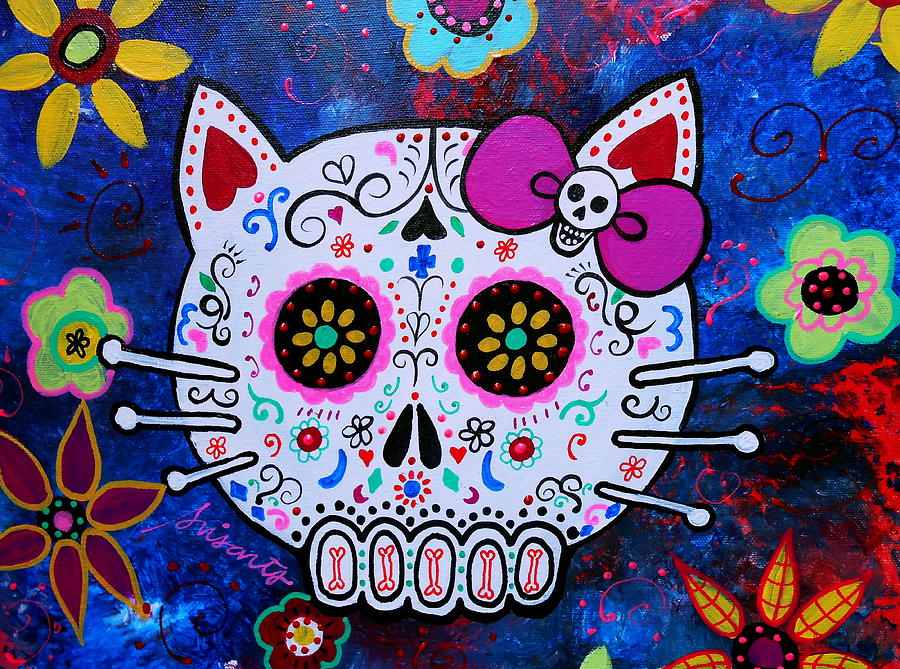 Hello Kitty Day Of The Dead Painting