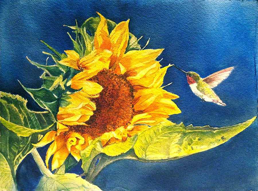 Sunflower Painting - Hello There by Patricia Pushaw
