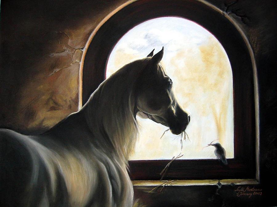 Helping  Painting by Leyla Munteanu