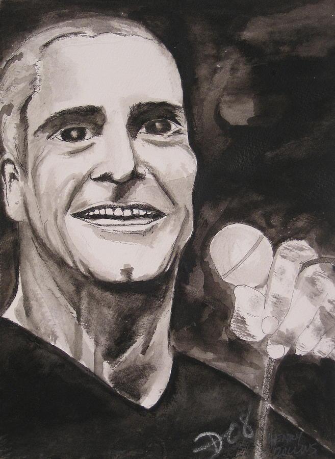 Author Black Darkestartist Flag Henry Ink Musician Panting Portrait Rollins Spoken Watercolor Darkest Artist Painting - Henry Rollins by Darkest Artist