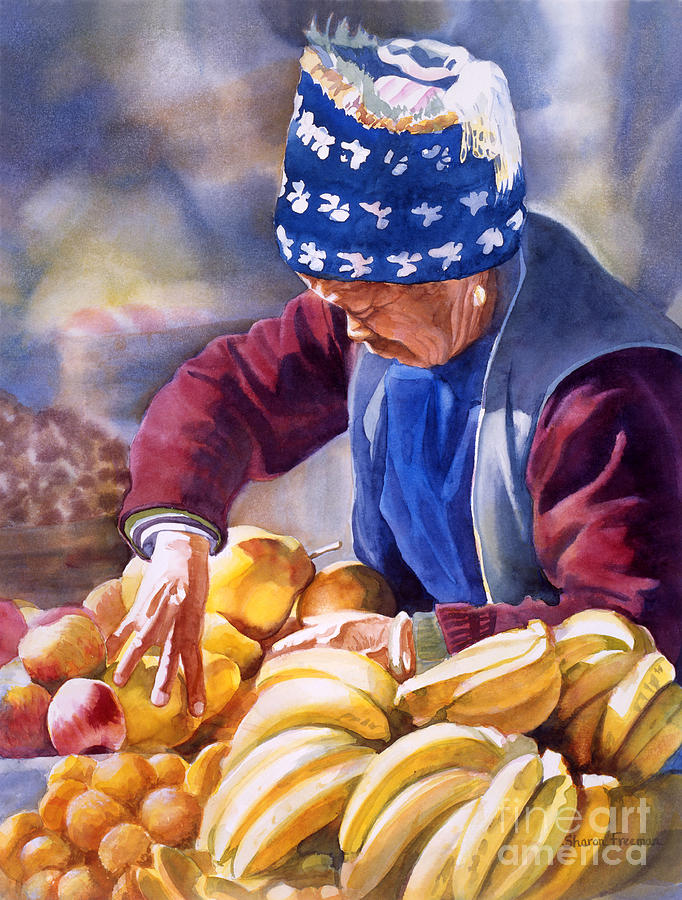 China Painting - Her Fruitstand by Sharon Freeman