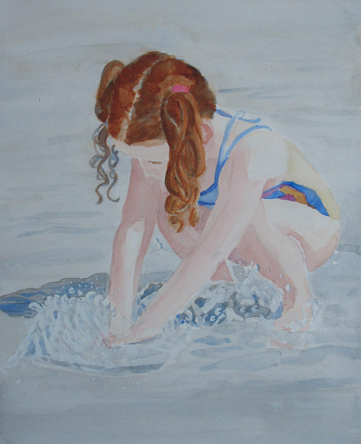 Girl Painting - Her Own Little Fountain by Jenny Armitage