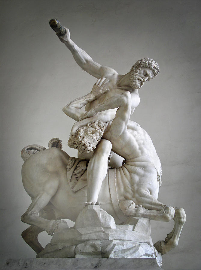 Italy Photograph - Hercules And Centaur Sculpture by Artecco Fine Art Photography