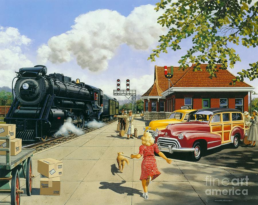 Train Station Painting - Here At Last by Michael Swanson