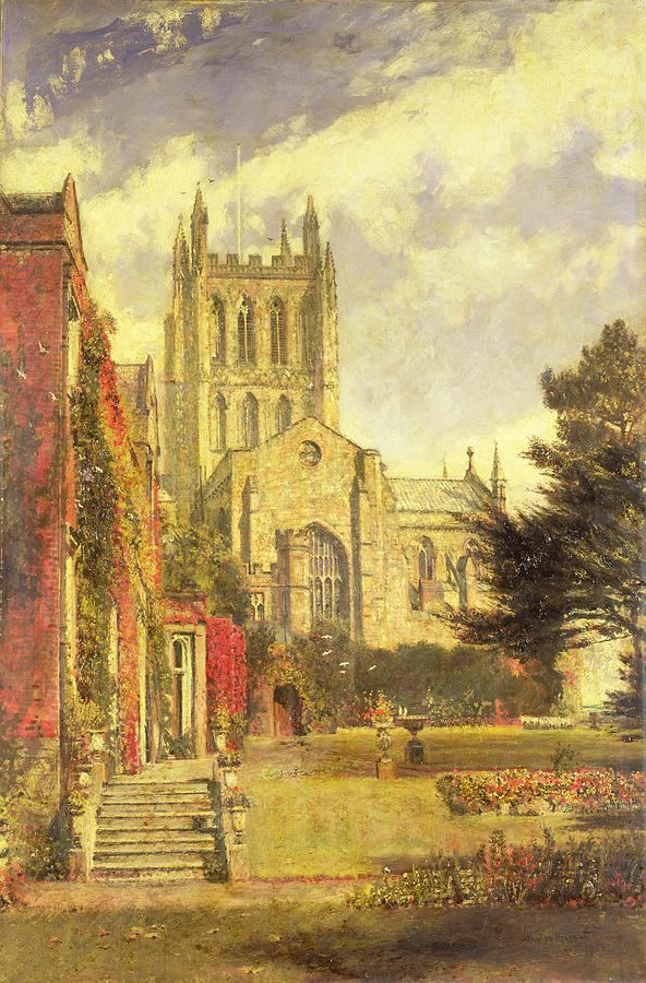 Hereford Painting - Hereford Cathedral by John William Buxton Knight
